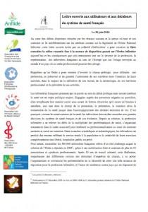 Lettre ouverte aux utilisateurs et aux décideurs du système de santé français