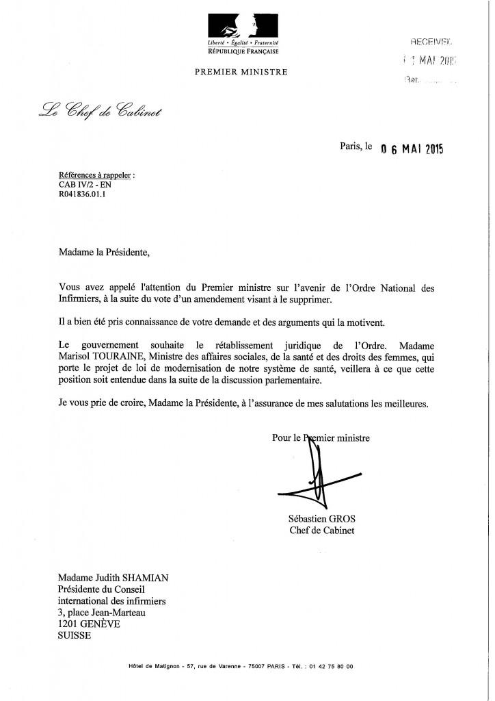 Réponse du Premier ministre